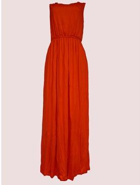Women's sleeveless maxi dresses-Orange.