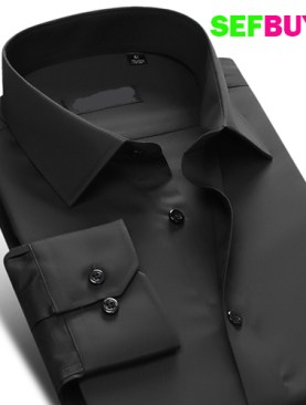 Men's long sleeved formal shirts-Black.