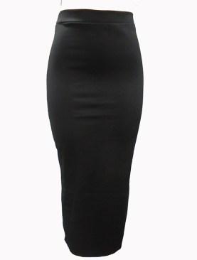 Women's plain long skirts -Black.