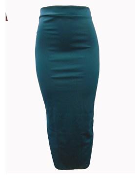 Women's plain long skirt with back slit-Dark Turquoise.