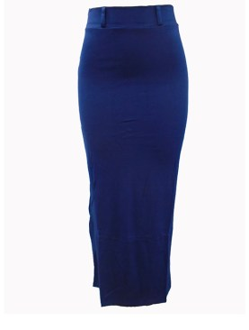 Women's long skirts with no slit-Navy Blue.