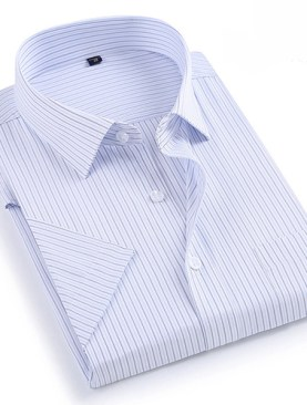 Men's striped short sleeved shirts-White.