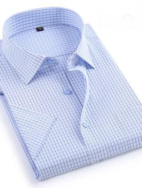 Men's plain short sleeved checkered shirts-White&Black.