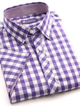 Men's short sleeved checkered shirts-Purple.
