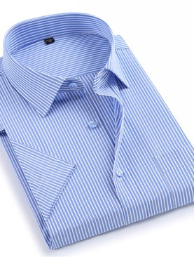 Men's striped short sleeved shirts-Light Blue.