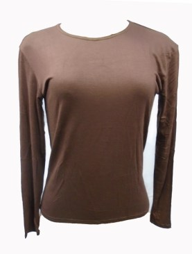 Women's long sleeved camisoles-Coffee Brown.