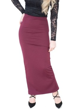 Ladies long skirt with back slit-Maroon.