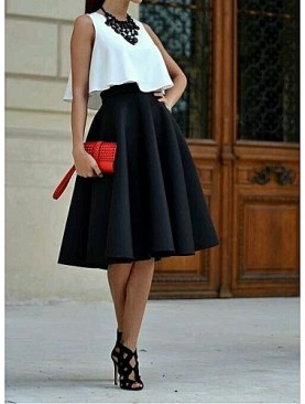 Women's fancy flare skirt-Black.