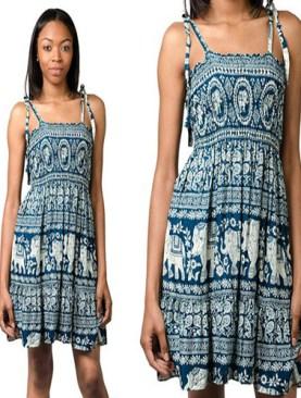 Women's free wear dress with elephant prints-Turquoise.