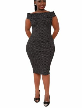 Sexy body con dress with polka dots-Black