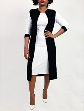 Sleeveless throw on cardigan-Black.