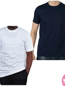 Two Pack Round Neck T-Shirts - Navy Blue, White.