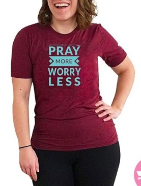 Pray more worry less round neck t-shirt-Maroon.