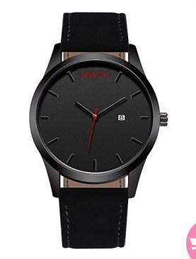 Men's leather watch-Black.