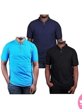 3 Pack cotton polo t-shirts-Navy Blue,light blue,Black.