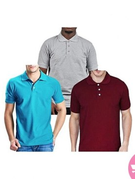 Three Pack Short Sleeved Polo Shirts - Blue,Maroon,Grey.