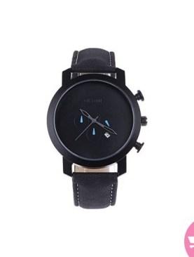 Faux leather men's sport watch-Black.