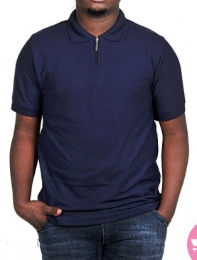 Classic polo t-shirt with front zipper-Navy Blue.