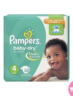 Pampers baby dry diapers high count - S4(9-18Kg) - 32Pcs