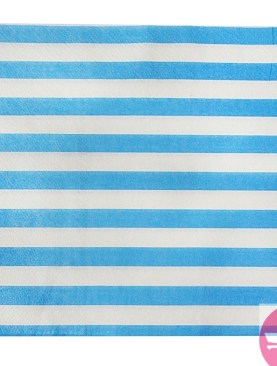 Striped Paper Napkins - Blue, White