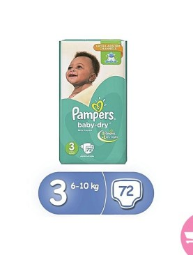 Pampers baby dry diapers jumbo -S3 (6-10Kg) - 72Pcs