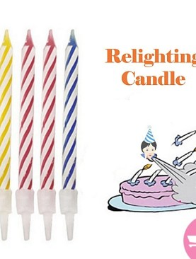 Magic rrick relighting birthday candle -10 Pieces