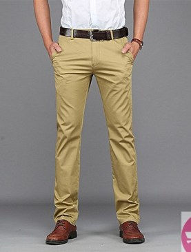 Fitting men khaki pants - brown