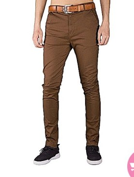 men's french pocket khaki pants -brown