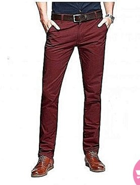 Men's fit khaki pants - maroon
