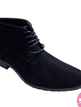 Men's ankle lace up suede boot shoes - black