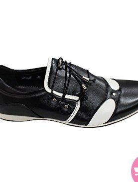 Men's lace up shoes - black and white