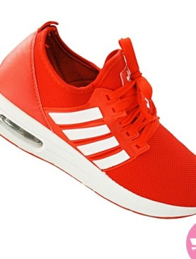 Men's lace up sneaker shoes- red and white