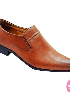 Men's gentle sharp pointed formal shoes-brown