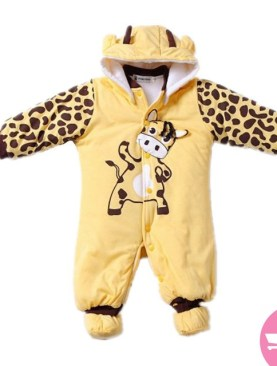 Babies cotton padded overalls with animal print.-Yellow