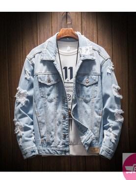 Unisex denim jacket with damage fashion-Light Blue.