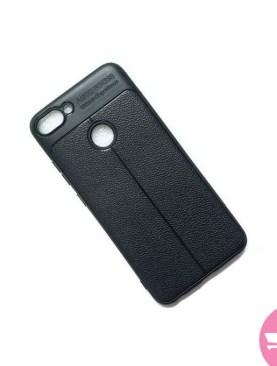 Auto Focus Leather Back Case For Infinix hot 6 Pro - Black