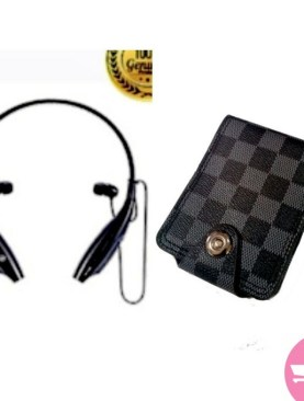 2 Pack of Smart Bluetooth, Wireless Neckband Earbud Headset KBP- 500S and Faux Leather Checkered Men's Wallet - Black,Grey