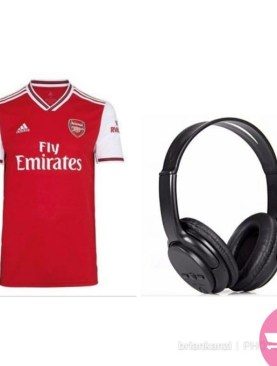 Replica Arsenal FC 2019/20 Jersey and Bluetooth Wireless Headsets - Red,White,Black