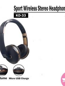 Generic KD33 Wireless Bluetooth, TF,FM Radio Headphones - Black