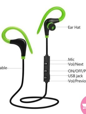 BT-1 Ear Hook Water Proof Bluetooth Ear Phones - Green