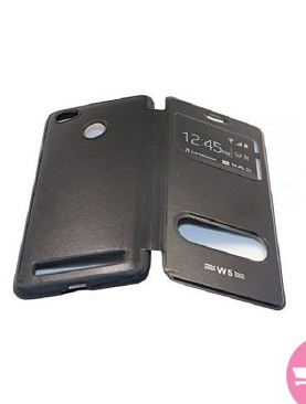 Faux Leather Flip Cover Case For Tecno W5 - Black