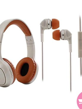 SY-BT1605 2 Pack Combo of Bluetooth Headset and in Ear Earphones - Multi-Colors.