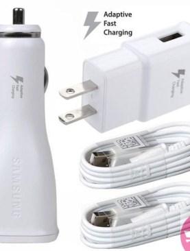 Verizon Samsung Galaxy S7 edge Adaptive Fast Charger Micro USB 2.0 [Car & Home Charger + 2 Micro USB Cable
