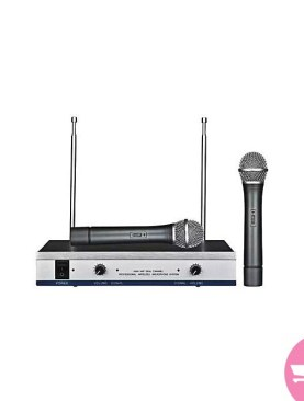 DH-744 MAX Professional Wireless Microphone High VHF Dual Channel Microphone - Black,Silver