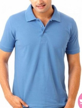 Men's polo neck t-shirt with short sleeves-Light blue