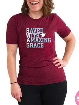 Saved with amazing grace t-shirt-Maroon