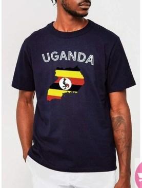 Uganda round neck t-shirt-Navy Blue.