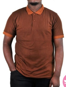 Polo t-shirt with short sleeves-Brown.