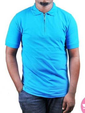 Polo t-shirt with short sleeves-Light Blue.