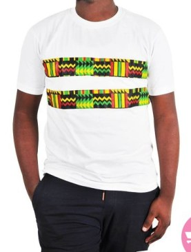 Kitenge embroidered t-shirt with round neck-White.